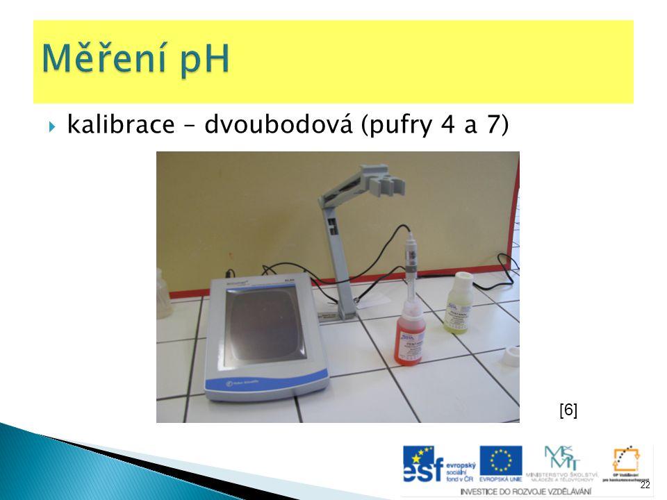 Měření pH kalibrace – dvoubodová (pufry 4 a 7) [6]
